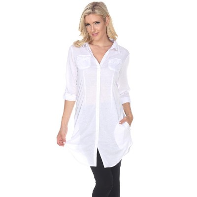 Women's Stretchy Button-Down Tunic with Pockets - White Mark