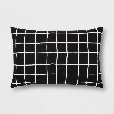 Black And White Grid Lumbar Throw Pillow - Room Essentials™