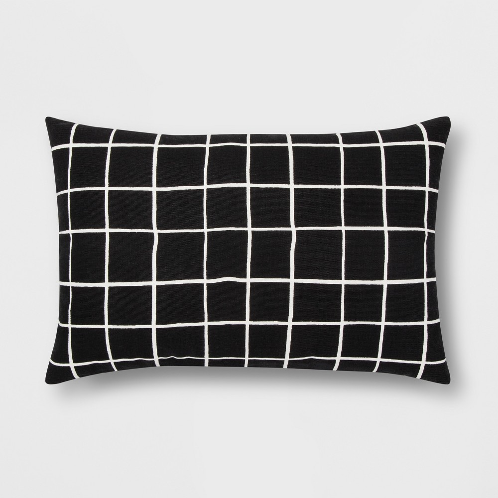 Black And White Grid Lumbar Throw Pillow - Room Essentials