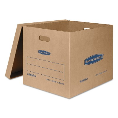 Bankers Box SmoothMove Classic Large Moving Boxes 21l x 17w x 17h Kraft/Blue 5/Carton 7718201