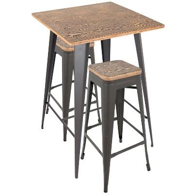 3pc Oregon Industrial Pub Set Matte Gray Metal Dining Sets Medium Brown Wood Top - LumiSource