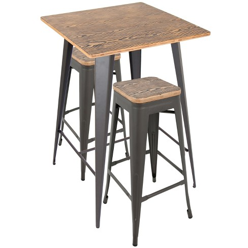 3 Piece Oregon Pub Set Matte Gray Metal With Medium Brown Wood Top Lumisource Target