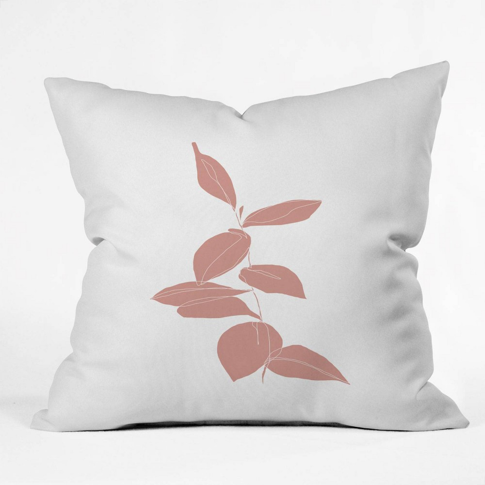 Image of The Colour Study Plant Drawing Berry Pink Square Throw Pillow Pink - Deny Designs