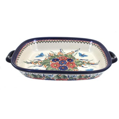 Blue Rose Polish Pottery Floral Butterfly Large Baker with Handles