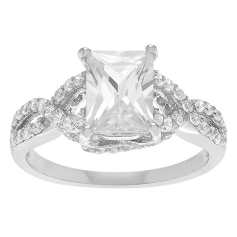 1 3/5 CT. T.W. Emerald-cut Cubic Zirconia Engagement Basket Set Ring in Sterling Silver - Silver - image 1 of 2