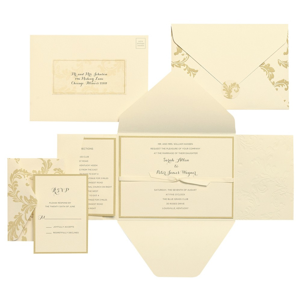 Brides Ivory Swirl Invitation Pack - 30 Ct This 30-card swirl invitation pack makes it easy for your family and friends to get together next time you have a Wedding. Future guests will be delighted with this invitation pack. Color: Cream.