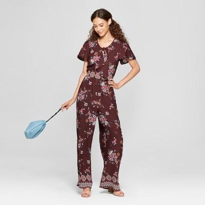 60614d12f56f Women s Short Sleeve Tie Front Floral Jumpsuit - Xhilaration™   Target