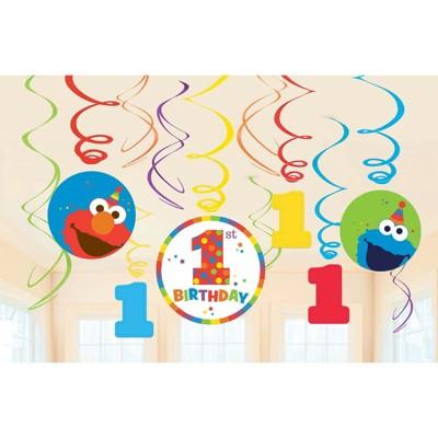 Birthday Express Sesame Street Elmo Turns One Swirl Decorations - 12 Pack