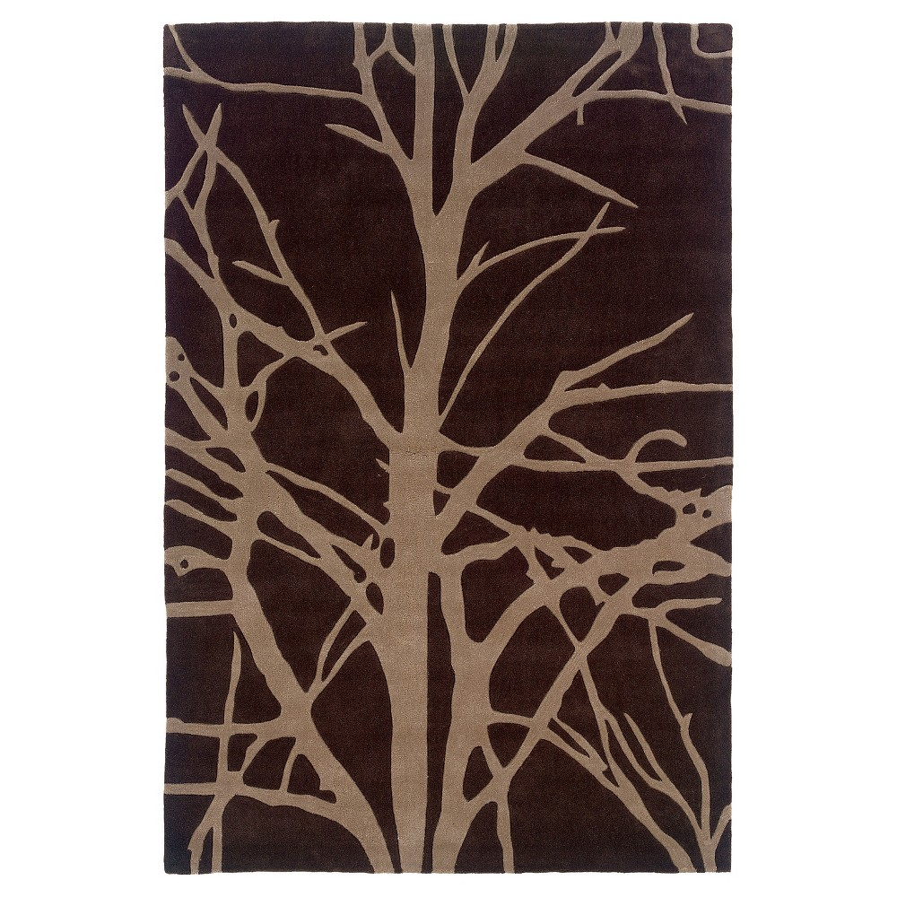 Trio Collection Winter Tree Area Rug - Chocolate (Brown) / Tan (5' X 7')