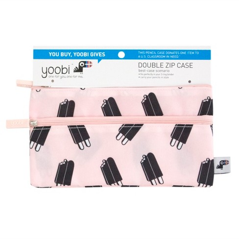 2-Zipper Pencil Case Pink with Ice Pops - Yoobi™ - image 1 of 2