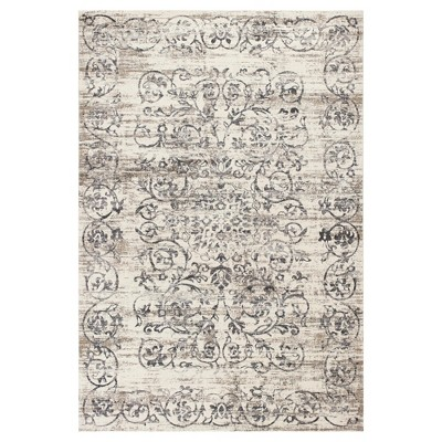 Ivory Gray Damask Pressed/Molded Area Rug 7'10 x11'2  - KAS Rugs