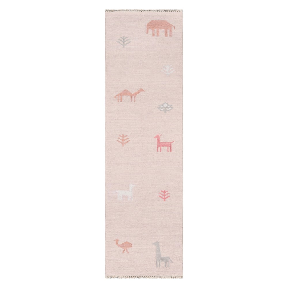 Image of 2'3X8' Animal Print Woven Runner Pink - Erin Gates By Momeni