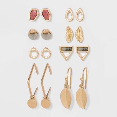 Semi-Precious Stone Charm Hoop and Stud Earring Set 8pc - Universal Thread™