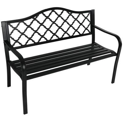 Cast Iron Lattice Bench - Black - Sunnydaze Decor