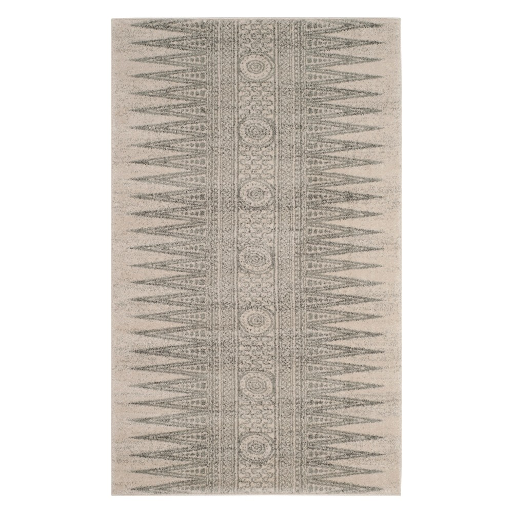 3X5 Geometric Design Loomed Accent Rug Ivory/Silver - Safavieh Buy