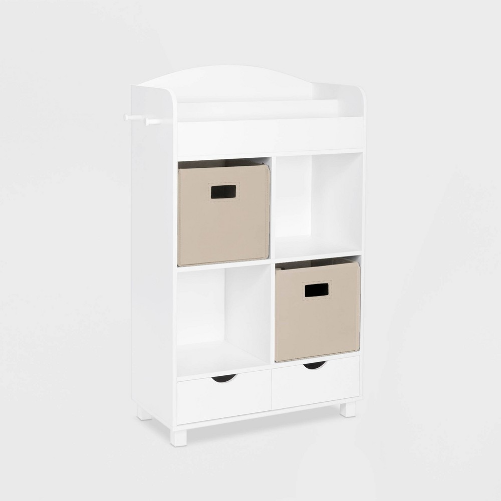 Image of 2pc Bin Book Nook Kids Cubby Storage Cabinet with Book Rack Taupe - RiverRidge