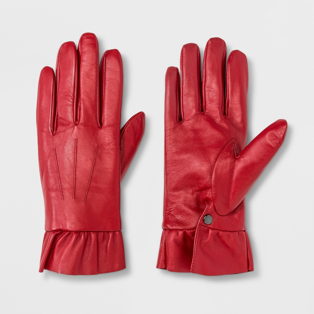 Vintage Style Gloves- Long, Wrist, Evening, Day, Leather, Lace Womens Leather Ruffle Wrist Gloves - A New Day Red ML $29.99 AT vintagedancer.com