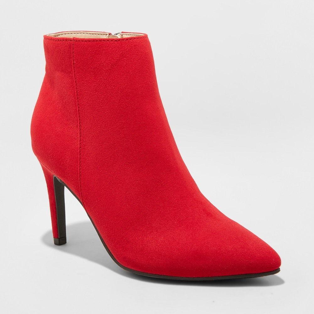 Women's Norelle Microsuede Wide Width Stiletto Pointed Fashion Boots - A New Day Red 5.5W, Size: 5.5 Wide