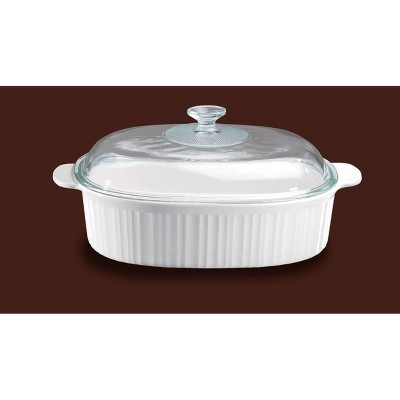 CorningWare French White 4qt Oval Ceramic Casserole with Glass Cover