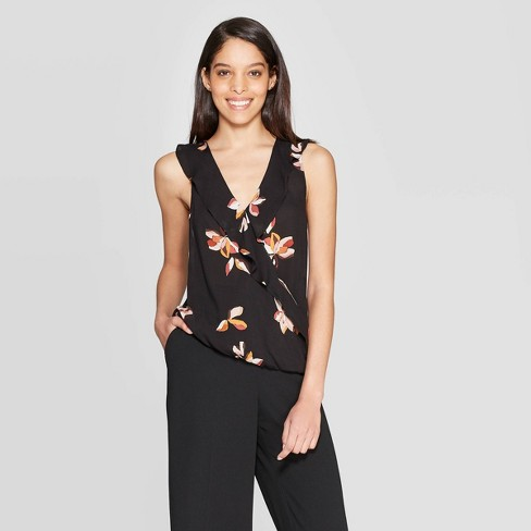 a6d87f8f8cd4 Women's Floral Printed Sleeveless V-Neck Ruffle Top - A New Day™ Black :  Target