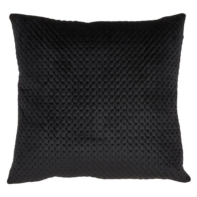 Poly Filled Pinsonic Velvet Pillow Black - Saro Lifestyle