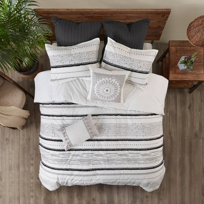 Full/Queen 3pc Nea Cotton Printed Comforter Set with Trim Black/White