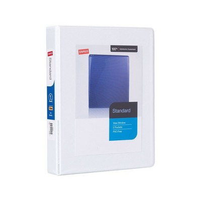 "Staples 1"" Standard 5-1/2"" x 8-1/2"" Mini View Binder with Round Rings White 580931"