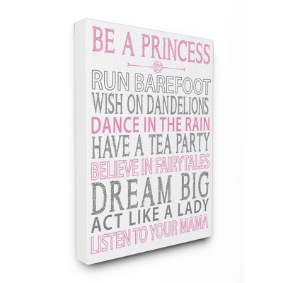 "Be A Princess Pink Typog Stretched Canvas Wall Art (16""x20""x1.5) - Stupell Industries"
