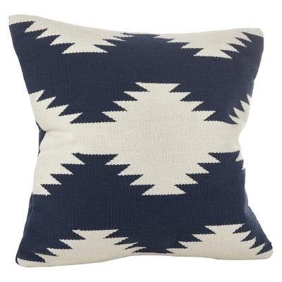 """20"""" Kilim Design Down Filled Throw Pillow Navy Blue - Saro Lifestyle"""