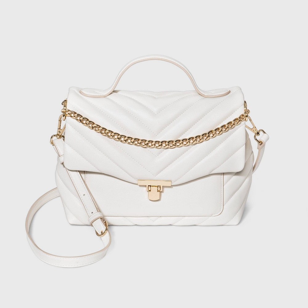 Vintage Handbags, Purses, Bags *New* Quilted Top Handle Turn Key Closure Satchel Handbag - A New Day Ivory $35.00 AT vintagedancer.com