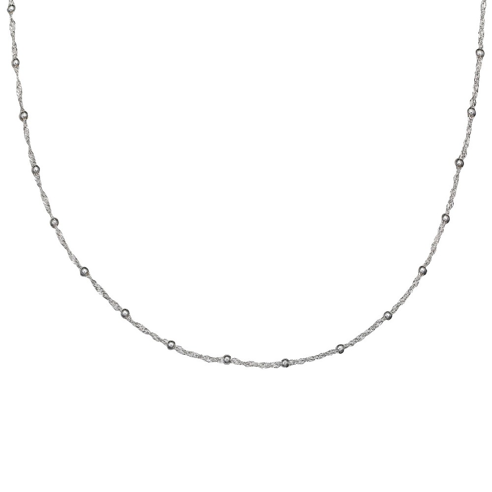 Women's Singapore Chain with 2mm Beads in Sterling Silver (20)