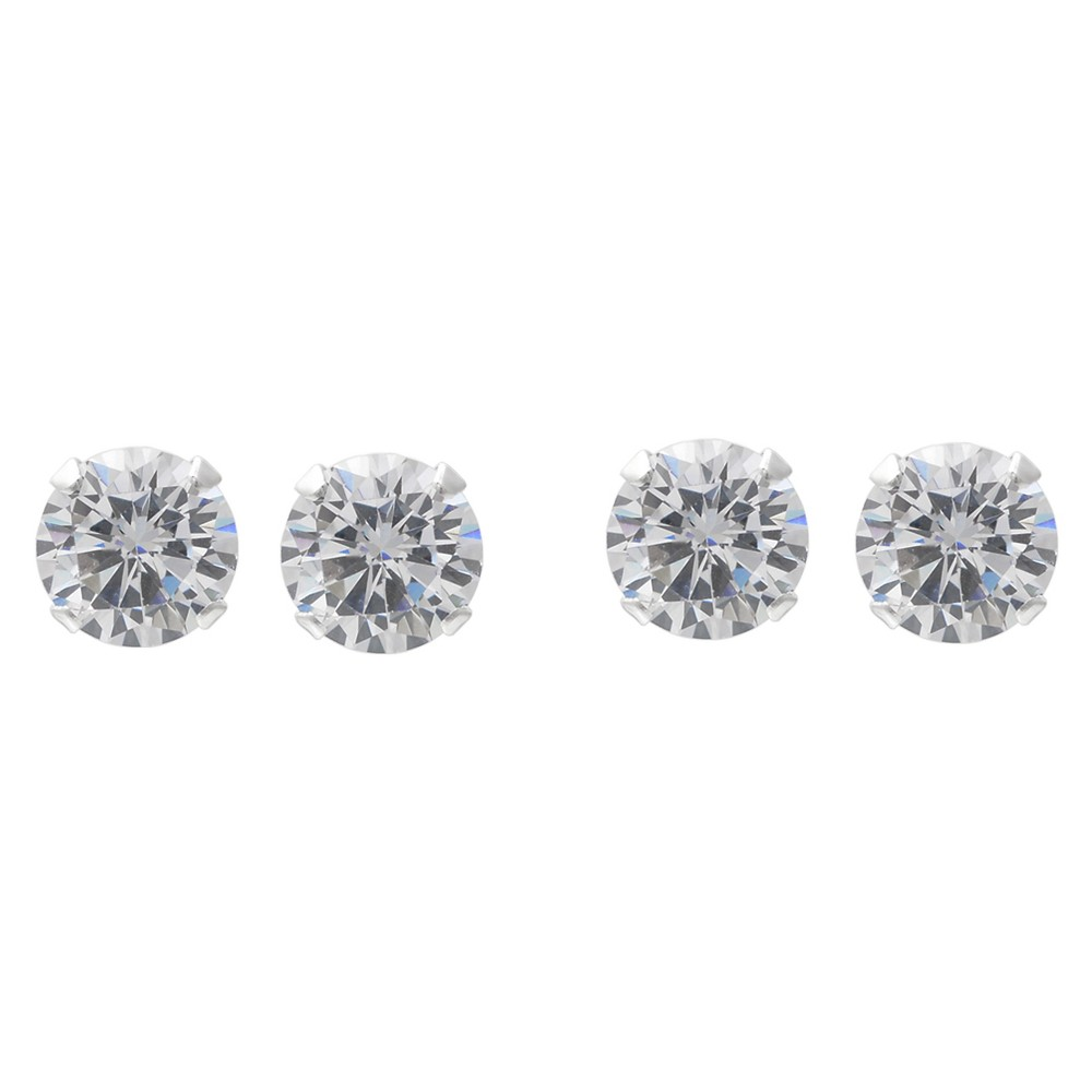 1 1/2 CT. T.W. Round-cut CZ Prong Set Stud Earrings Set in Sterling Silver - White/White, Girl's