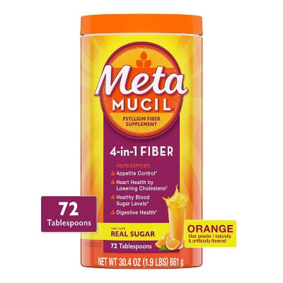 Metamucil Psyllium Fiber Supplement with Sugar Powder - Orange Smooth