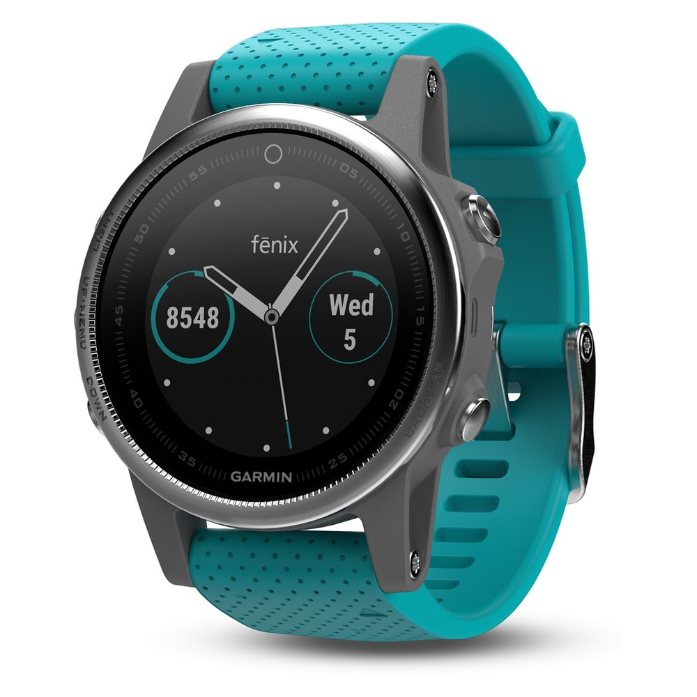 Garmin Fenix 5S Silver Gps Watch with Turquoise Band