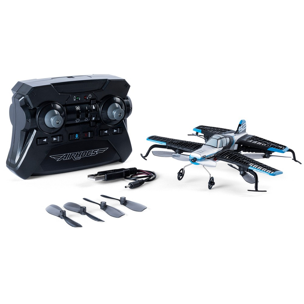 Image of Air Hogs 2-in-1 AirJet Drone Plane with Sharp Turn Capabilities - Blue