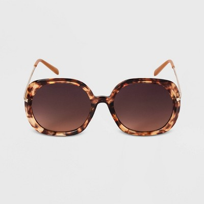 Women's Crystal Tortoise Shell Oversized Round Sunglasses - A New Day™ Brown
