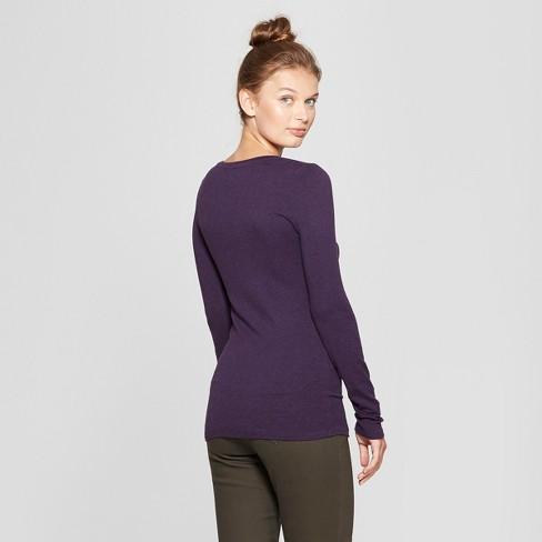 3c44d644d05 Women s Long Sleeve V-Neck T-Shirt - A New Day™ Purple Heather M   Target
