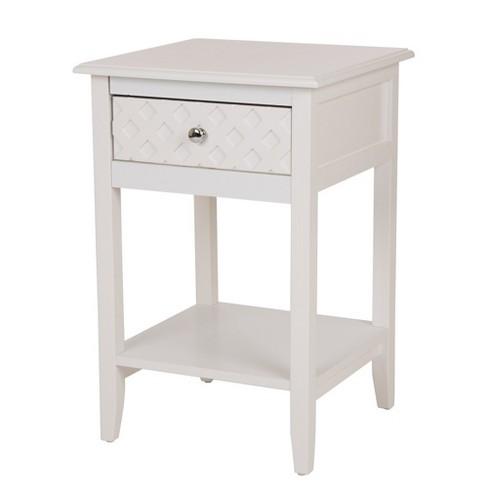 Wooden End Table with Drawer White - Glitzhome - image 1 of 8