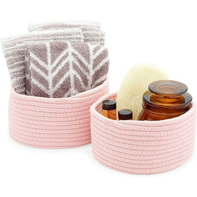 Farmlyn Creek 2-Pack Round Cotton Woven Baskets for Storage, Pink Home Organizers (2 Sizes)