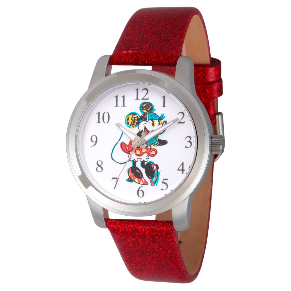 Women's Disney Minnie Mouse Silver Alloy Watch - Red