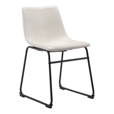 Set of 2 Sculpted Faux Leather Dining Chairs Distressed White - ZM Home