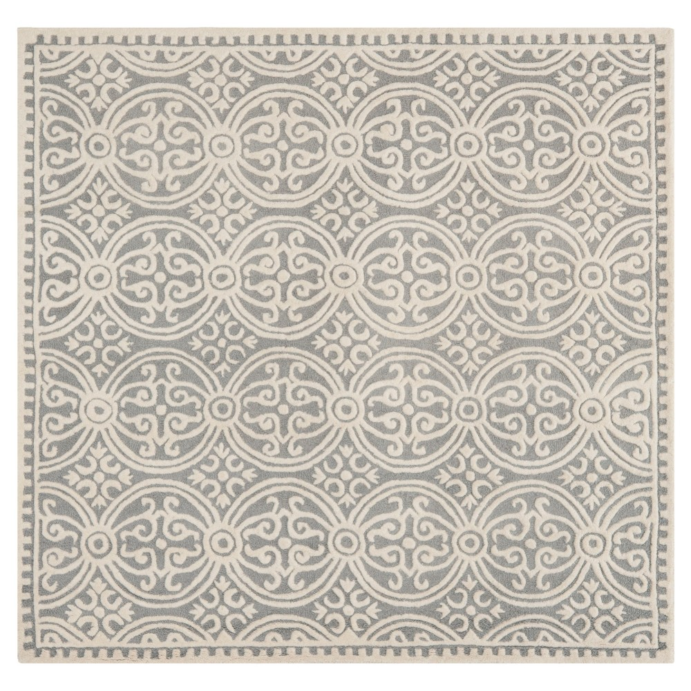 Silver/Ivory Geometric Tufted Square Area Rug 6'X6' - Safavieh