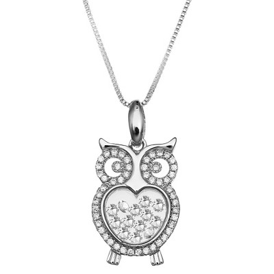 "Cubic Zirconia Owl Floating Locket in Sterling Silver (18"")"
