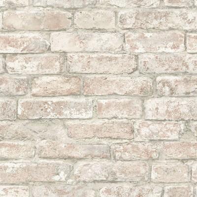 Brewster Washed Denver Brick Peel & Stick Wallpaper White