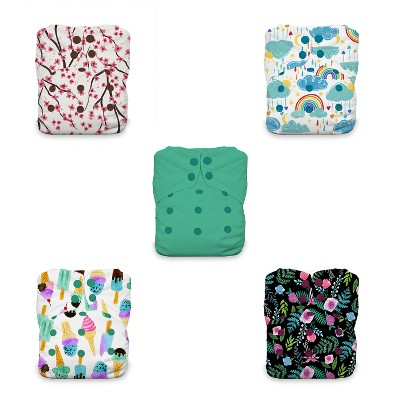 Thirsties   Natural One-Size All-in-One Snap Cloth Diaper Pack of 5