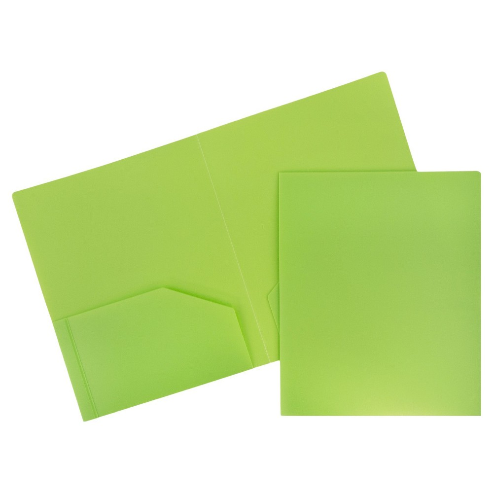 Image of 6pk 2 Pocket Heavy Duty Plastic Folder Lime Green - JAM Paper