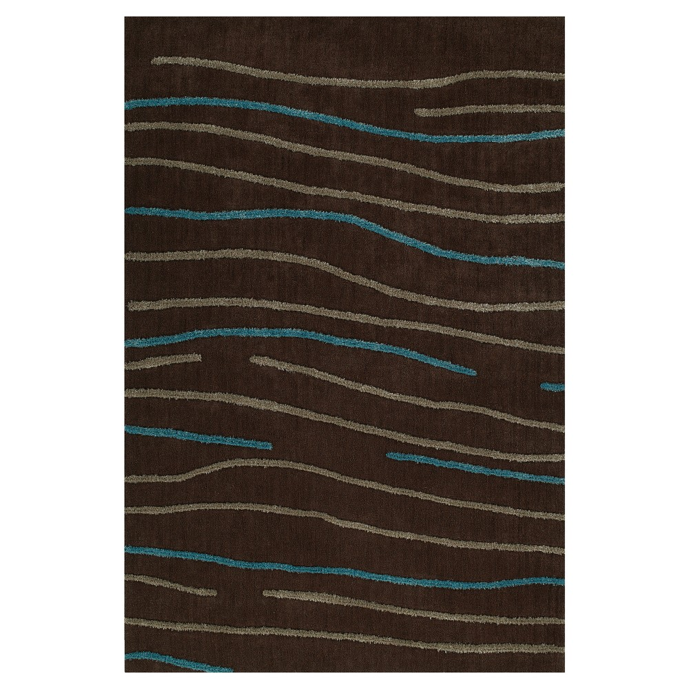 Chocolate (Brown) Multi Stripe Tufted Accent Rug 3'6
