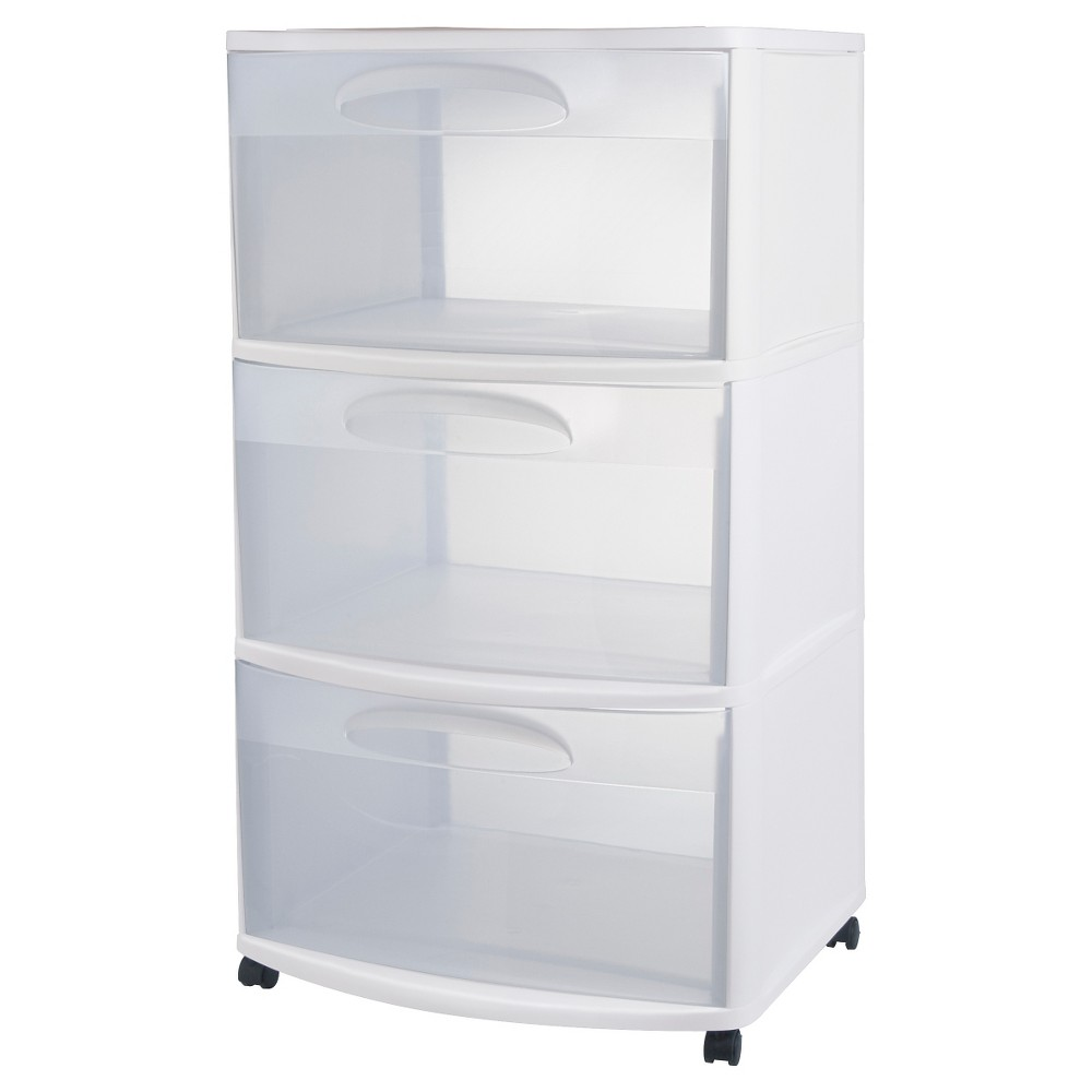 Image of Sterilite Three Drawer Wide Cart with Clear Drawers