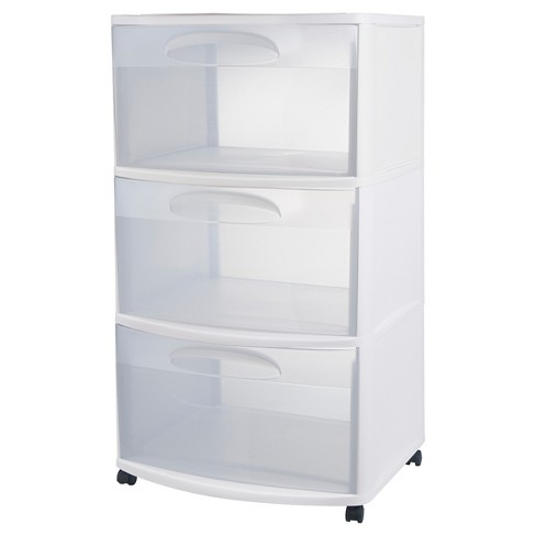 Sterilite Three Drawer Wide Cart White With Clear Drawers