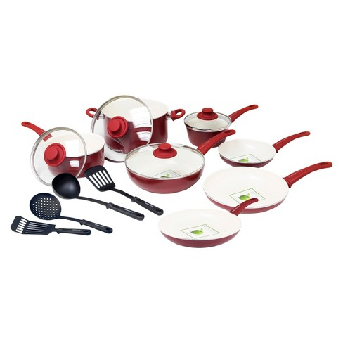 GreenLife 15pc Ceramic Cookware Set Burgundy - image 1 of 1